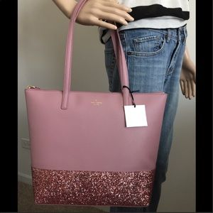 Kate Spade pink glitter tote NEW